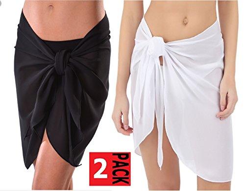 cba715fda8921 TC Sheer Chiffon Swim Beach Short Sarong Wrap Skirt Cover-up (Black + White