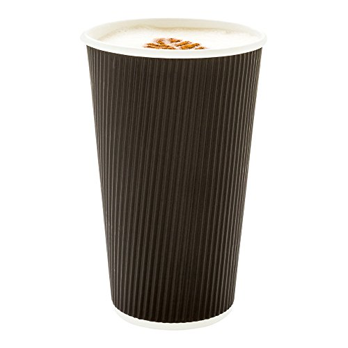 500-CT Disposable Black 16-OZ Hot Beverage Cups with Ripple Wall Design: No Need for Sleeves – Perfect for Cafes – Eco-Friendly Recyclable Paper – Insulated – Wholesale Takeout Coffee - Cup Black