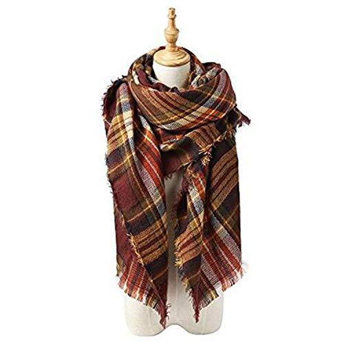 140cm Warm Autumn Lattice Amdxd Winter Sciarpe For Scarf Women A59 Coffee Cashmere qwwaXz