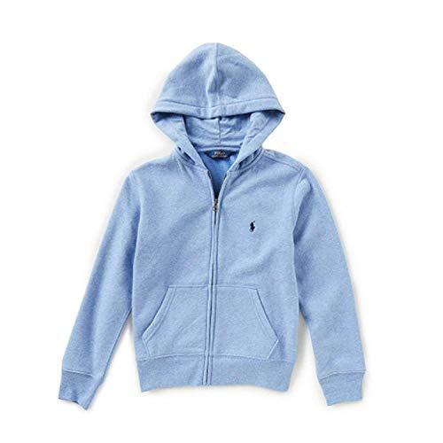 - RALPH LAUREN Polo Boys Full Zip Hoodie, Blue Heather, M (10-12)