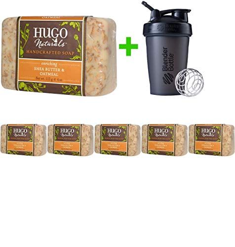 Hugo Naturals, Handcrafted Soap, Shea Butter & Oatmeal, 4 oz (113 g)(6 Pack(s)+Sundesa, Blender Bottle, Classic With Loop, 20 oz ()