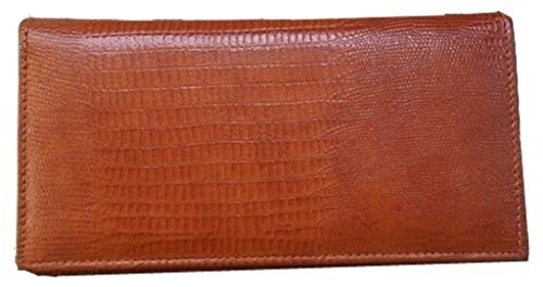 Men's Women's LIZARD Reptile PATTERN GENUINE Leather Black Brown Tan Burgundy Checkbook Cover Wallet (Light Brown/Tan)