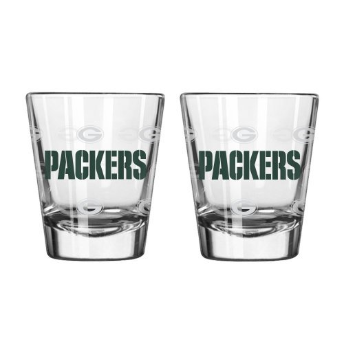 NFL Football Team Logo Satin Etch 2 oz. Shot Glasses | Collectible Shooter Glasses - Set of 2 (Packers)