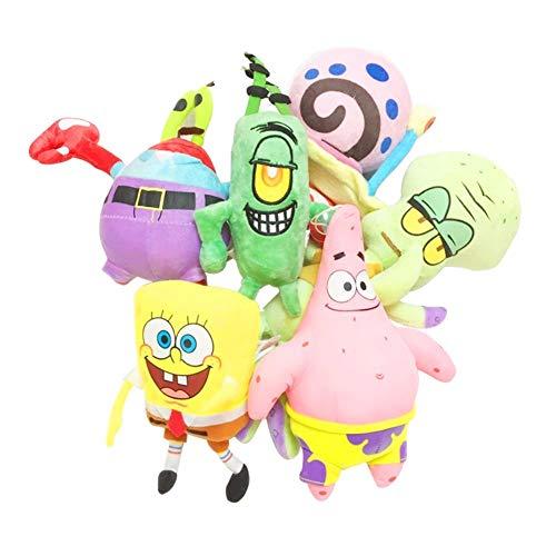 (LKRFX 6pcs/Set Spongebob Plush Toys Kids Cartoon Movie Characters Christmas Birthday Gift Toys Stuffed Plush Animals)