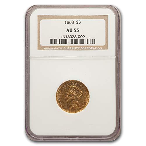 1868 $3 Gold Princess AU-55 NGC 3 AU-55 NGC