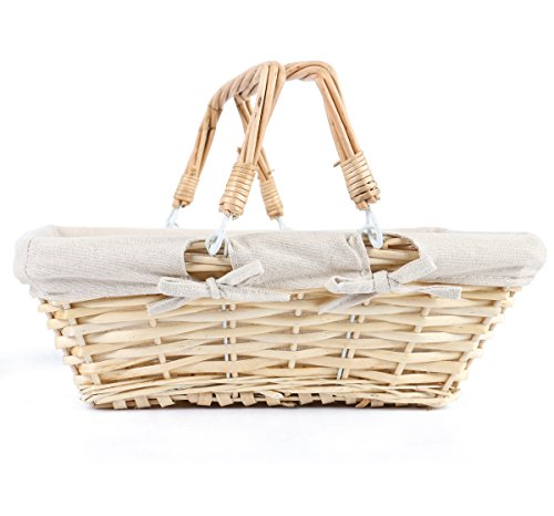 MEIEM Easter Basket Gift Basket Wicker Woven Picnic Basket with Double Folding Handles Rectangular Willow Basket (Natural)