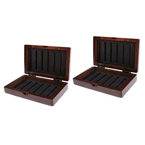 Flameer 2Pcs Vintage Wooden Fly Box Fishing Tackle Box Double Side Slit Foam Insert