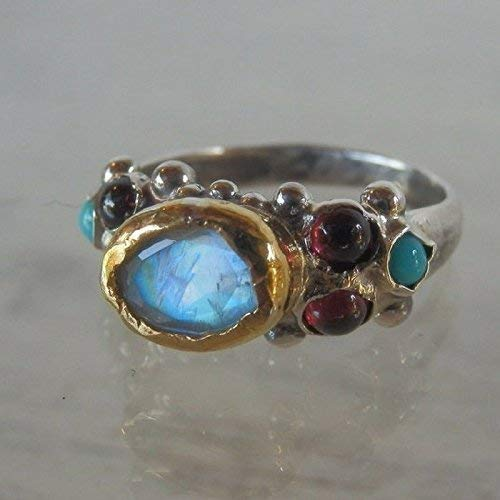 Handmade Rainbow Moonstone Solid Gold and Silver Engagement Ring Vintage Style Stackable Wedding Ring Set