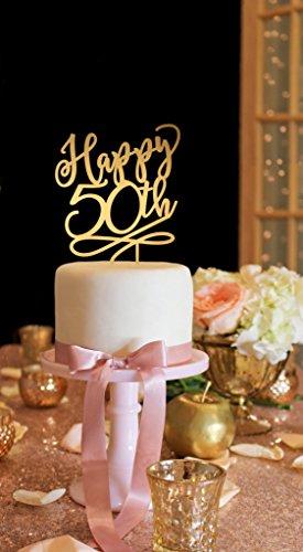 50th Anniversary Cake Topper 50th Birthday Cake Topper Happy 50th Cake Topper Gold Cake Topper