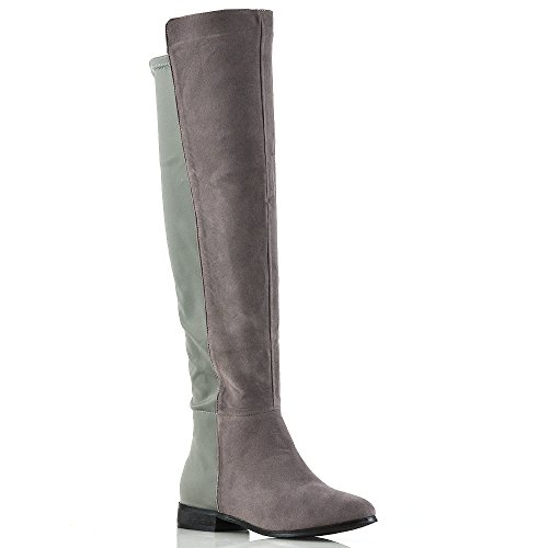 Essex Glam Womens Over The Knee High Elasticated Stretch Zip Tall Flat Ladies Boots Size 3 4 5 6 7 8 Grey Faux Suede