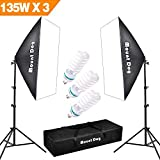 MOUNTDOG Softbox Lighting Photo Studio Kit 2x Soft box 3x135W Continuous Light Bulb with Carrying Bag Photography Equipment for Photoshooting Video Portrait
