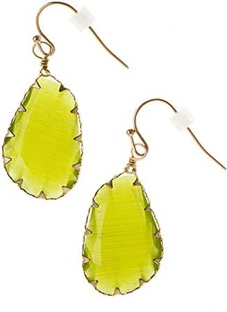 Trendy Fashion Jewelry FACETED FRAMED ACCENT STONE DANGLE EARRING By Fashion Destination