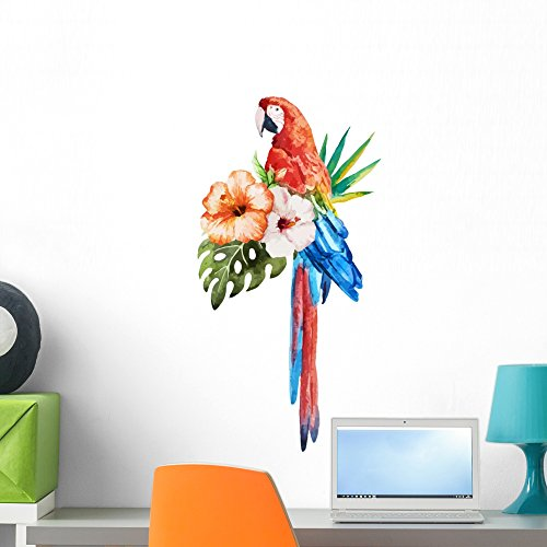 Wallmonkeys Tropical Hibiscus Macaw Birds Wall Decal Peel Stick Animal Graphics (24 in H x 16 in W) WM222084 ()