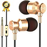 Marsno M1 Wired Metal in Ear Headphones, Noise Isolating Stereo Bass Earphones with Mic,Dynamic Drivers Provide Stereo & Crystal Clear Sound (Gold)