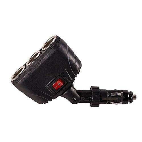 CJRSLRB Auto Car Vehicle 3 Socket 12V/24V Cigarette Lighter Power Charging Adapter Multiple Splitter Extension Outlet Plug Charger Port with Switch for GPS Garmin Tomtom