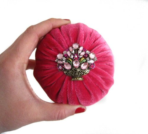 4'' Pink Velvet Emery Pincushions - Keep Your Needles Clean & Sharp by Nakpunar