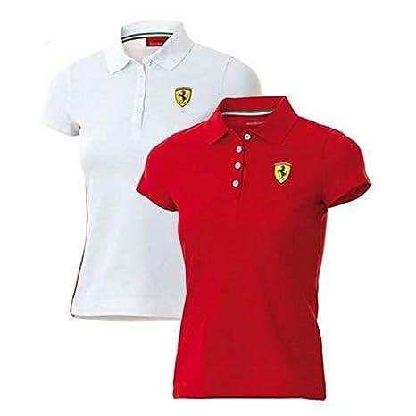 Ferrari Polo Mujer Clásico Rojo o Blanco: Amazon.es: Coche y moto