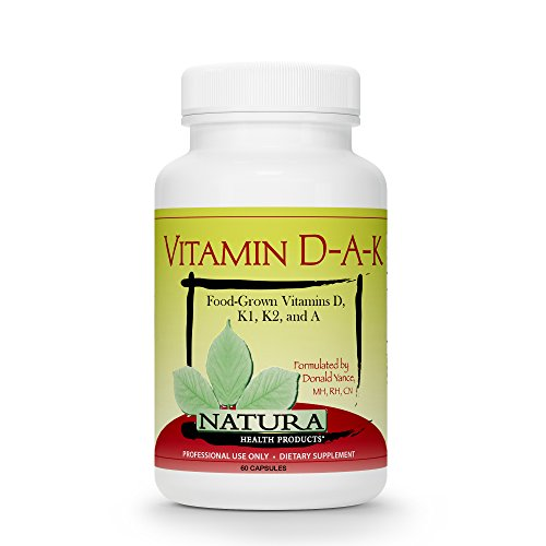 Vitamin D-A-K Bone, Heart and Vision Health Supplement by Natura Health Products - with Strength Supporting Vitamins D3 5000 IU, K1, K2, and Vitamin A from Carotenoids- 60 Capsules