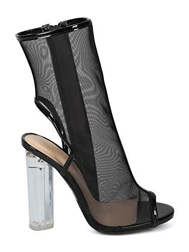 Mesh Toe Women IA46 Media Peep Tall Heel Diva Back Open Black Line Block Wild Boot Perspex Mix 5xxEwAS