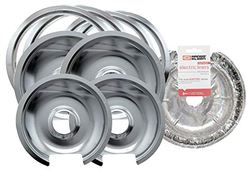 Range Kleen Style D Heavy Duty Chrome 4-Pack Drip Pans with Trim Rings AND 8 Foil Burner Liners...