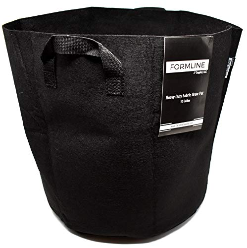 Formline Supply Premium 10 Gallon Grow Bags [Pack of 5]. Fabric Flower Pots are The Smart Way to Garden. Add These Heavy Duty Planters to Your Grow Tent Kit or Hydroponic System to Increase Yields.