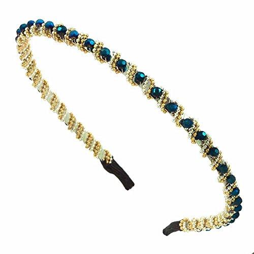 Bijoux de cheveux bandeau - Laiton - Bijou de tête - Cristaux strass chaîne bicolore - Bleu - Azur - Cadeau Femme pas cher - Mes Bijoux Bracelets