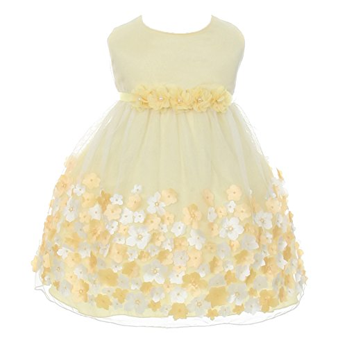 Kid's Dream Baby Girls Yellow Taffeta Flowers Sleeveless Easter Dress 12M -
