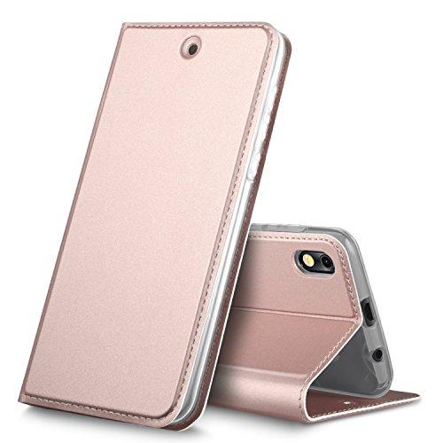 BLU Advance 5.2 case, KuGi Premium PU Leather Case,[Drop Proof] Flip Folio Protective Phone Cover for BLU Advance 5.2 smartphone(Rosegold)