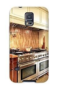 Snap-on Case Designed For Galaxy S5- Electrolux Range And Backsplash With Tiled Copper Design