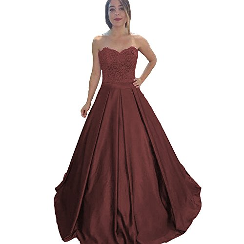 Modeldress Elegant Sweetheart Lace Bridesmaid Dress A-Line Wedding Party Gowns Prom Dresses Brown-US4
