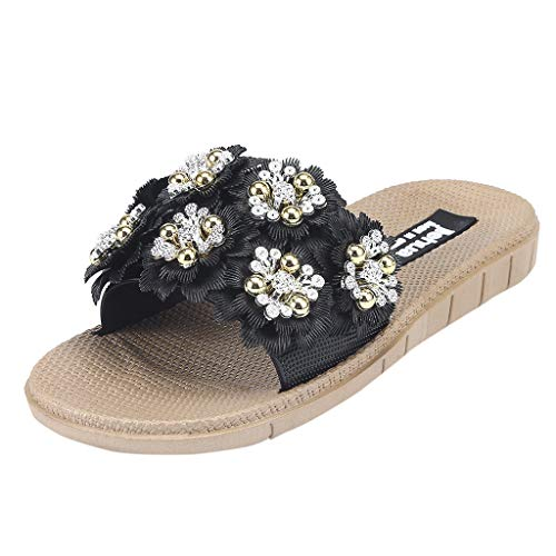 - TOTOD Women's Flower Flat Sandals Open Toe Slippers Wild Wear Casual Beach Home Shoes Black