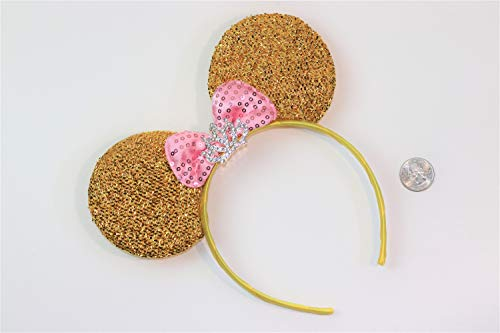 Minnie Mouse Princess Headband Gold Pink Bow Tiara Silver Rhinestones Crown ()