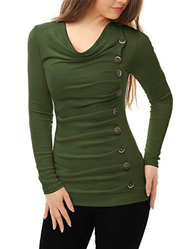 Allegra K Women's Cowl Neck Long Sleeves Buttons Decor Ruched Top Green S (US 6)
