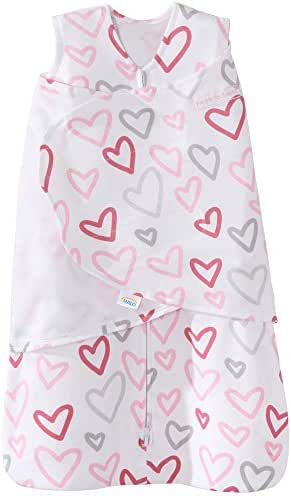 Halo 100% Cotton Sleepsack Swaddle Wearable Blanket, Modern Pink Hearts, Newborn