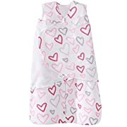 Halo 100% Cotton Sleepsack Swaddle Wearable Blanket, Modern Pink Hearts, Small