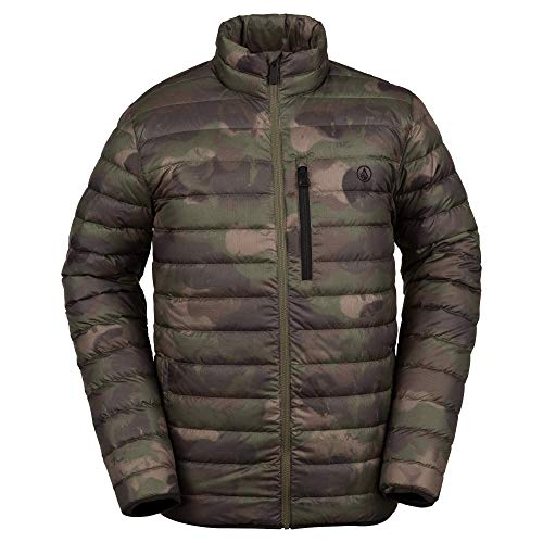 Volcom Men's Puff Give Bubble Goose Nylon Full Down Snow Jacket, Camouflage, Large