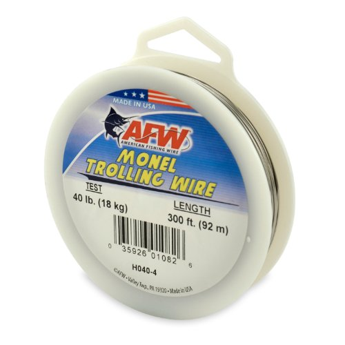 American Fishing Wire Monel Trolling Wire (Single Strand), Bright Color, 40 Pound Test, 300-Feet