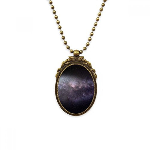 DIYthinker Elliptical Cosmic Nebula Universe Pattern Antique Brass Necklace Vintage Pendant Jewelry Deluxe Gift