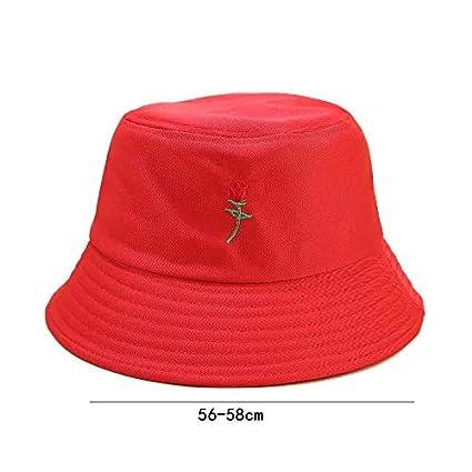 Westeng Chapeau Bob Toile de Coton Chapeau Plat Lettre Chapeau de Soleil Double Face Pliable Anti-UV Protection /Ét/é pour Femmes 56-58cm,Rouge