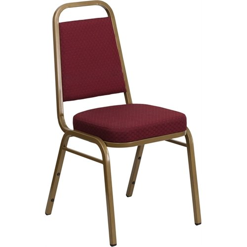 Flash Furniture FD-BHF-1-ALLGOLD-0847-BY-GG Hercules Series Trapezoidal Back Stacking Banquet Chair with Burgundy Patterned Fabric Gold Frame (Series Stacking Chair Burgundy Fabric)