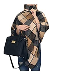 Freely Womens Plus-Size Turtleneck Plaid Shawl Raw Cut Hem Duffle Coat
