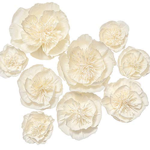 Ling's moment Paper Flower Decorations, Set of 9, Handcrafted Large Crepe Paper Flowers Artificial Peony Assort for Wall Baby Nursery Wedding Backdrop Bridal Shower Centerpiece Monogram Sign(Cream)