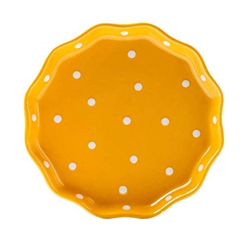 8' Dinner Bowl - Gwill Wave Ceramic Edged Polka Dot Dinner Plate/Salad Plate/Dessert Plate/Steak Plate for Kitchen Party Restaurant, Multicolor 8''