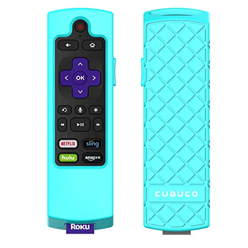 Cuauco Case for Roku Express 3900/ Express+3910/Roku Streaming Stick 3800/Streaming Stick+ 3810,Protective Silicone [Anti Slip] Shock Proof Remote Controller Case (Model Year 2017,2018) (Mint-Green)