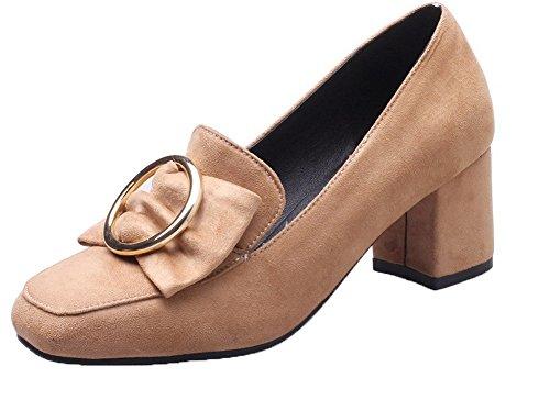 Talon Chaussures Correct Jaune VogueZone009 Carré avec Femme à Froufrou Légeres gEqxwpT