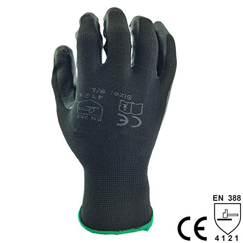 glove of black coated work gloves nitrile glove for work assembly use 24pcs=12pairs overalls gloves,NY1350-BLK,L