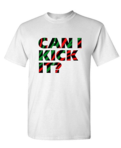 CAN I KICK IT? - hip hop 80s oldschool - Mens Cotton T-Shirt, XL, White (80s Clothing For Men)