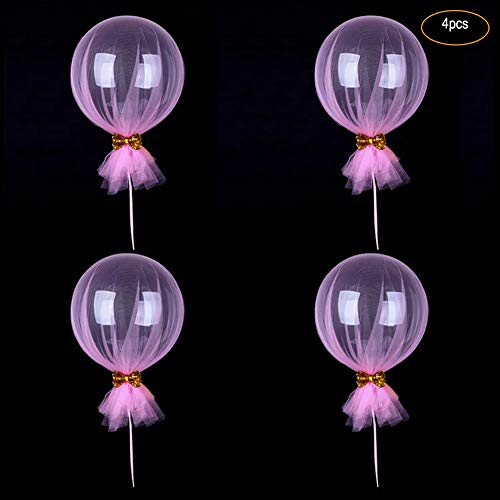 cheerfullus 18'' Pink Party Tulle Balloons,4PCS Bobo Bubble Balloons Mesh Bow Baby Shower Birthday Wedding Party Valentine's Day -