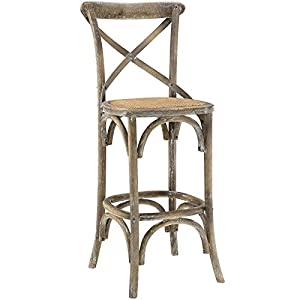 Modway Gear Rustic Farmhouse Elm Wood Rattan Bar Stool in Gray - Fully Assembled