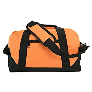 "DALIX 14"" Small Duffle Bag Two Toned Gym Travel Bag (Orange)"